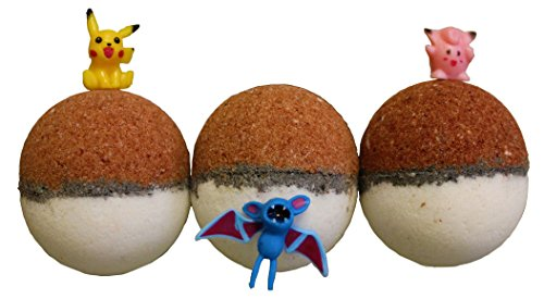 Price comparison product image Pokemon Pokebomb Bath Bombs Pack of 3 Gift Set Basket with Lush Shea Butter and Epsom Salts - Surprise Toy Figure Inside - Handmade Fizzies with Natural Ingredients - Free Pokeball Included