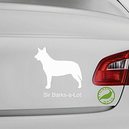 Custom Name Australian Cattle Blue Heeler Dog Decal Sticker Customizable Text (White, 5 - Name Dog Sticker Decal
