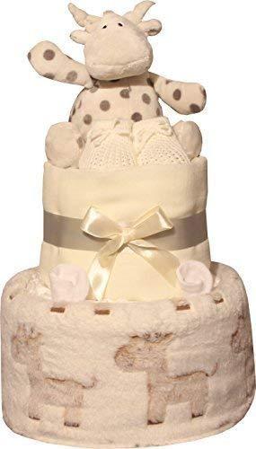 Deluxe 2 Ebenen creme Giraffe Windel Torte unisex Design f/ürs Baby Junge oder M/ädchen