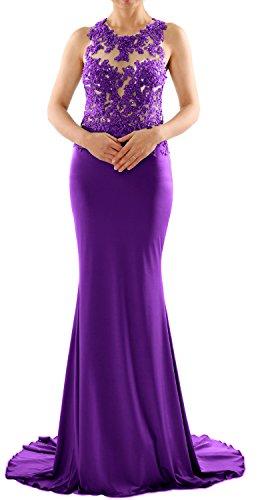 MACloth Women Mermaid Long Lace Jersey Long Prom Dress Formal Party Evening Gown Morado