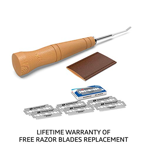 SAINT GERMAIN Premium Hand Crafted Bread Lame for Dough Scoring Knife, Lame Bread Tool for Sourdough Bread Slashing with 6 Blades Included with Replacement with Authentic Leather Protector Cover