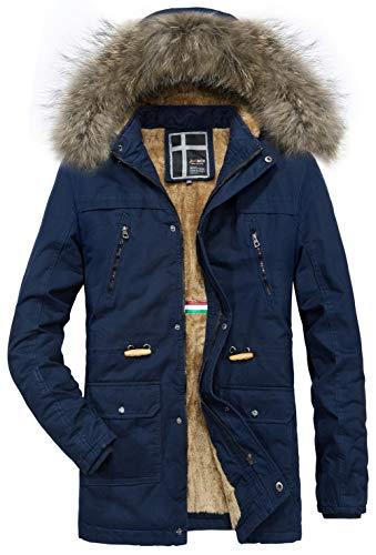 Blousons En Winter Chaud Doublure Parka Extérieure Laine Capuche Jiinn Classique A Manteaux Mens bleu C D'hiver Veste Fourrure Hooded Coat Épais Homme vwO7aIqE