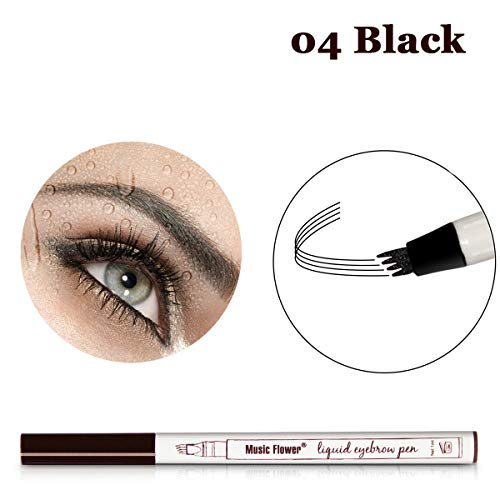 Vanelc Eyebrow Tattoo Pen Microblading Eyebrow Pencil Tattoo Brow Ink Pen a Micro-Fork Tip,Long Lasting,Smudge-Proof Natural Hair-Like Defined Brows and Stays on All Day (Black)