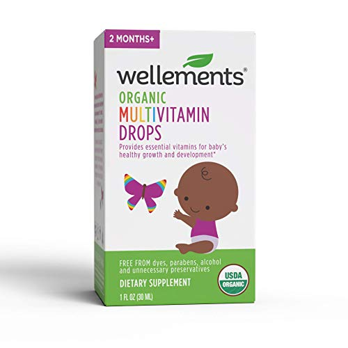 Wellements Organic Multivitamin Drops, 1 Fl Oz, Baby Liquid Vitamin Supplement for Infants and Toddlers, Free from Dyes, Parabens, Alcohol, Preservatives