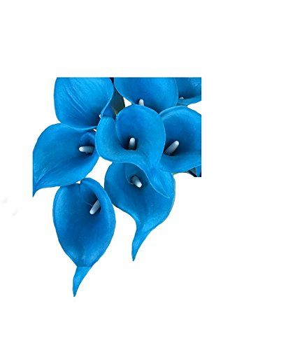 (Angel Isabella, LLC 20pc Set of Keepsake Artificial Real Touch Calla Lily with Small Bloom Perfect for Making Bouquet, Boutonniere,Corsage (Malibu Turquoise))