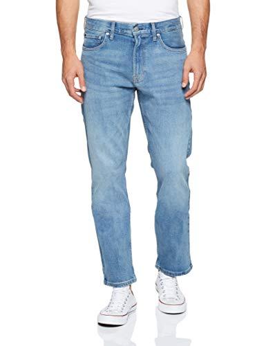 Calvin Klein Men's Straight Fit Jeans, Houston Mid Blue, 29W x 32L (Outlet Houston)