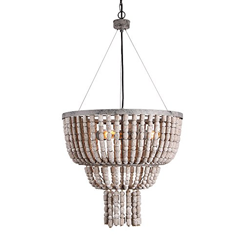 Eumyviv Circular Wood Bead Chandelier Retro Pendant Lamp, Industrial Metal Ceiling Lamp Kitchen Island Vintage Hanging Light Fixtures 3 Lights, Gray White (17102) (Wood Pendant Light Bead)