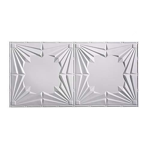 FASÄDE Easy Installation Art Deco Matte White Glue Up Ceiling Tile/Ceiling Panel (2' x 4' Tile)