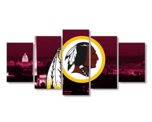 5 Panel Washington Redskins Canvas Prints Painting Wall Art Sports Home Decor Artwork for Living Room Without Frame