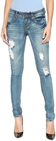 TheMogan Women's Indigo Dark Wash Contrast Stitch Skinny Jeans