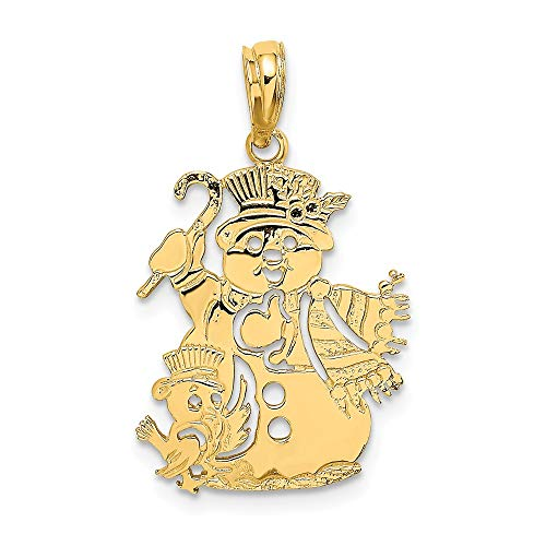 (14k Yellow Gold Snowman Pendant Charm Necklace Winter Fine Jewelry Gifts For Women For Her)