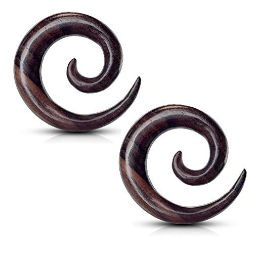 Pierced Owl Pair of Organic Sono Wood Spiral Tapered Hanger Ear Plugs (19mm (3/4
