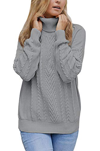 Sovoyontee Women 100% Cotton Cable Knit Turtleneck Pullover Sweater