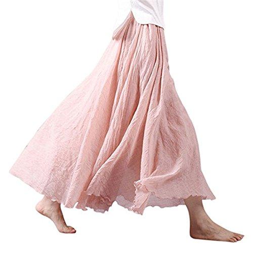 Ruiying Doux Femme Coton cm Longues Couleurs Rose Maxi Jupe Taille Jupe 95 Jupes Pale Lin Couche Jupes 20 Confortable Dames Haute Double FwarSqfFn