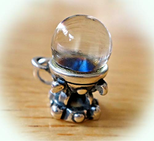 Sterling Silver 12mm Realistic Fortune Teller Aurora Borealis Crystal Ball Charm Vintage Crafting Pendant Jewelry Making Supplies - DIY for Necklace Bracelet Accessories by CharmingSS