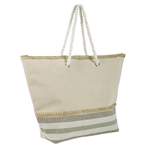 Ladies Stripe Canvas Beach Shoulder Bag Tote Shopping Fashion Handbag Bottom Stripes Green