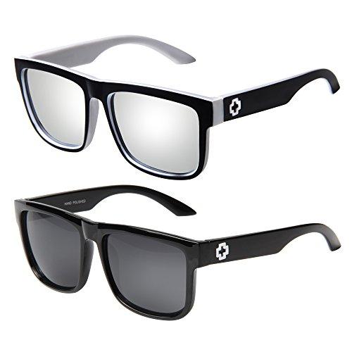 Vintage Retro Oversized Glasses Men's Women's Wayfarer Sunglasses 81016(Pack of 2)
