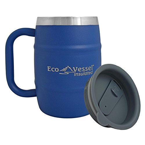 EcoVessel DOUBLE BARREL Double Wall Insulated Stainless Steel Beer and Coffee Mug with Lid - 16 Ounce - (Double Wall Beer Mug)