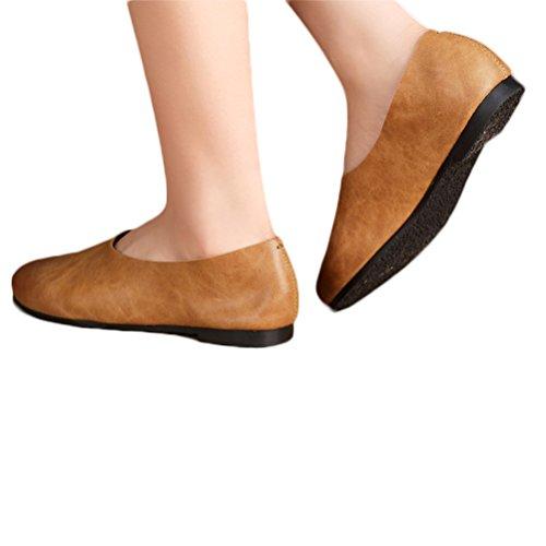 Vogstyle Damen Geschlossene Ballerinas klassische Lederschuhe Loafers Slip-Ons Art 1 Braun