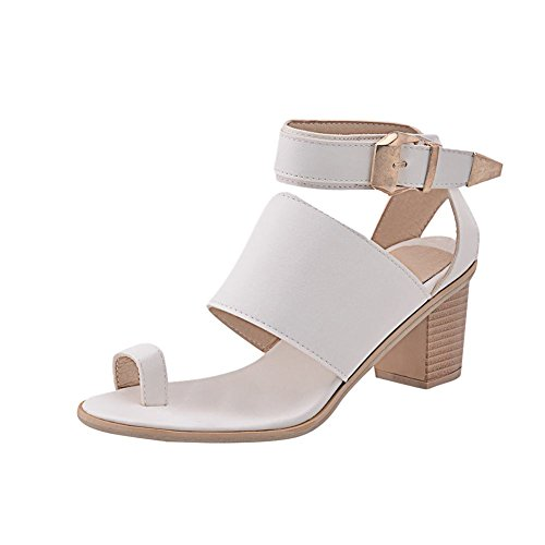 Carolbar Womens Thong Buckle Ankle-Strap Fashion Chunky Mid Heel Flip-Flop Sandals White