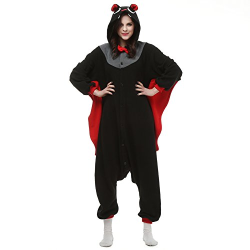 Plus Fleece Bat Costumes (Adult Animal Kigrumi Pajamas, Unisex Onesie Cosplay Costume for Halloween (S, Black Bat))