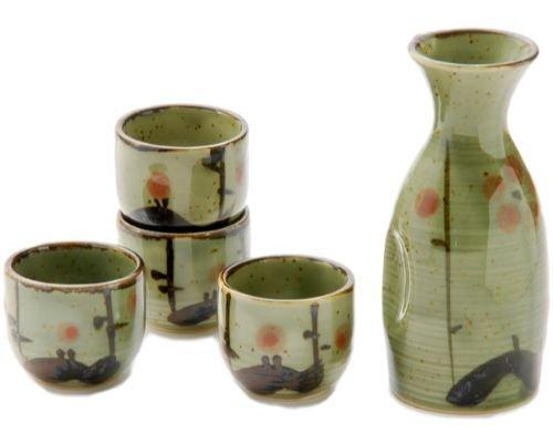 最先端 Authentic Japanese oz酒器カップSake Pottery SAKE Set 5流体オンスTokkuriボトルwith 4つ1 oz酒器カップSake Japanese Pottery Set日本製 グリーン グリーンフラワー B079Z29ZD7, plywood furniture:1d86332a --- a0267596.xsph.ru