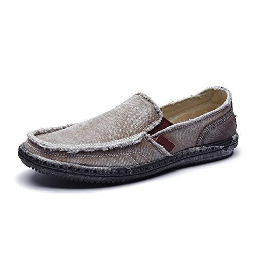 Fashion Estate Chiaro on Traspirante Qianliuk Scarpe Canvas Scarpe Slip Casual Pigre Uomo Marrone q4awOxZT