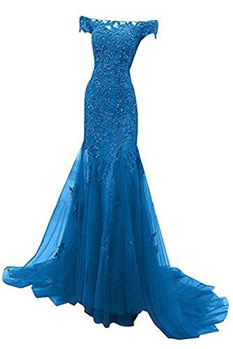 Dress Sleeves Long Blue Mermaid Women's Prom Cap Tulle Evening 2017 Dresses Appliques DreHouse Ew8q0SfxOx