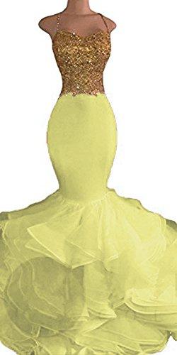Uryouthstyle Sexy Puffy Spghetti Beaded Mermaid Evening Prom Dresses US6 Light Yellow Un
