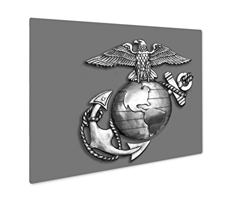 (Ashley Giclee Metal Panel Print, Marine Eagleglobe And Anchor Brass Emblem In Black And White, Wall Art Decor, Floating Frame, Ready to Hang 8x10, AG6054454)