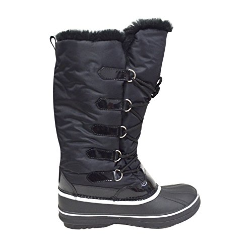 Skosnöre Womens Tall Vintern Snö Boot Vattentät Vattenavvisande Fleece Fodrad Varm Regn Boot (marley-06) 06-svart