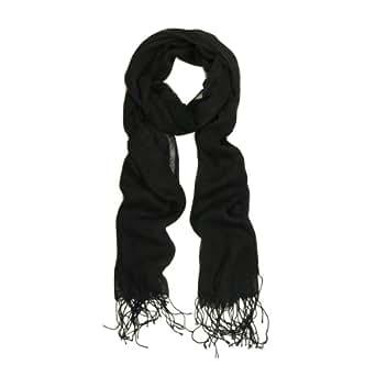 TrendsBlue Elegant Solid Color Viscose Fringe Scarf, Black