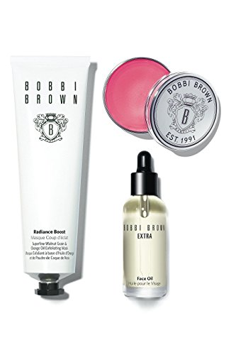 Bobbi Brown The Bobbi Glow Skincare Trio Set with Extra Face Oil, Radiance Boost Superfine Walnut Grain and Orange Oil Exfoliating Mask and Tinted Lip Balm (Bobbi Brown Care Lip)