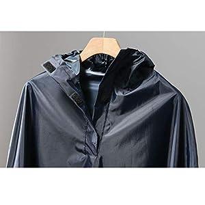 Qivor Waterproof clothing Poncho con cappuccio, impermeabile, impermeabile riutilizzabile, nero/blu scuro, taglia unica Men's snow raincoat (Color : Black)