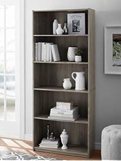 5 Shelf Wood Bookcase Oak