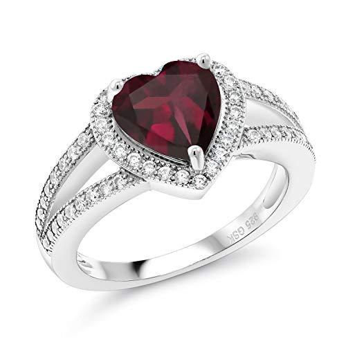 Gem Stone King 2.71 Ct Heart Shape Red Rhodolite Garnet 925 Sterling Silver Ring (Size 7)