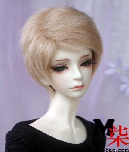 Doll Fur Wig (6-7inch(16-17cm): 1/6 BJD YOSD, Fur Wig Dollfie, Short Hair for BJD Boy Doll, Flax-Gold)