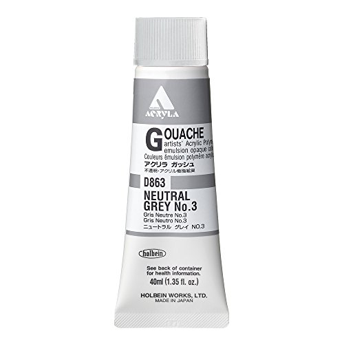 Holbein Acryla Gouache Artists Acrylic Polymer Emulsion, 20ml Neutral Grey 3 (D163)