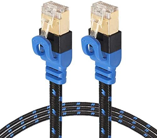 Computer Cables Braid CAT7 10 Yoton Ethernet Ultra Flat Patch Cable for Modem Router for US, Cable Length: 2m