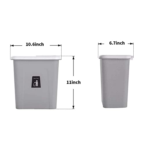 Plastic 1.8 Gallon Wall-Mounted Trash Can in-Cabinet Trash Can with Lid,Space Saving /& Garbage Storage UMIWE Hanging Trash Can for Kitchen,7 Liter