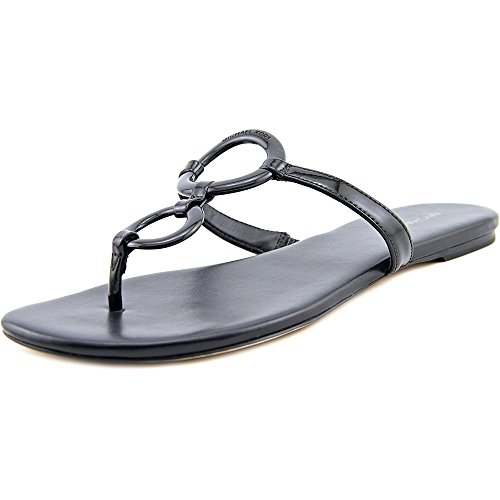 Leather Thongs Kors Michael (MICHAEL Michael Kors Women's Claudia Flat Sandal Black Patent Sandal 6 M)