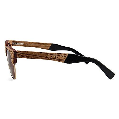 de Gafas de de de Sol Semi Calidad Ultravioleta Gu polarizadas Peggy Mano los protección de Las de Madera sin Que Hombres Sol conducen Alta Hechas de Marrón Sunglasses a Gafas rebordes Beach Sol Gafas la ACx0txw6qa