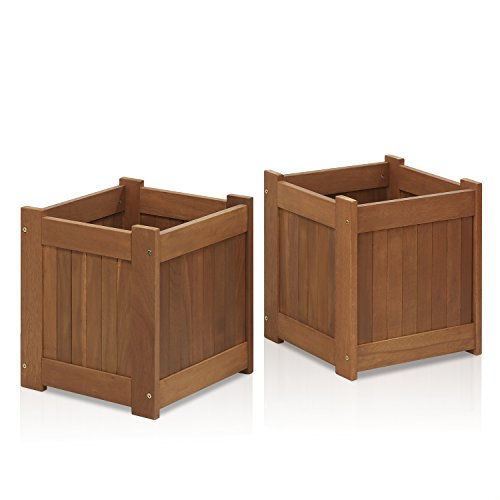 Teak Box Flower - Furinno 2-FG16450 Tioman Hardwood Flower Box in Teak Oil (2 Pack), Two