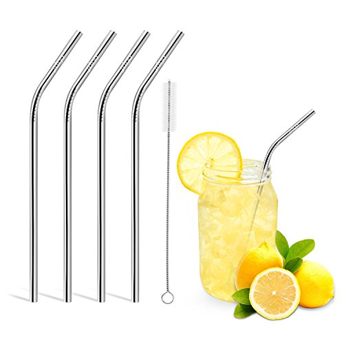 Reusable Drinking Straws,Set of 4,Stainless Steel Straws -Cleaing Brush (Stainless Straws)