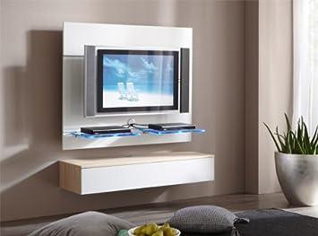 Tv möbel wandpaneel  TV Wand Wandpaneel Paneel mit Lowboard weiss / sonoma eiche ...