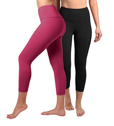 90 Degree By Reflex - High Waist Tummy Control Shapewear - Power Flex Capri - Black and Pomberry 2 Pack - Medium