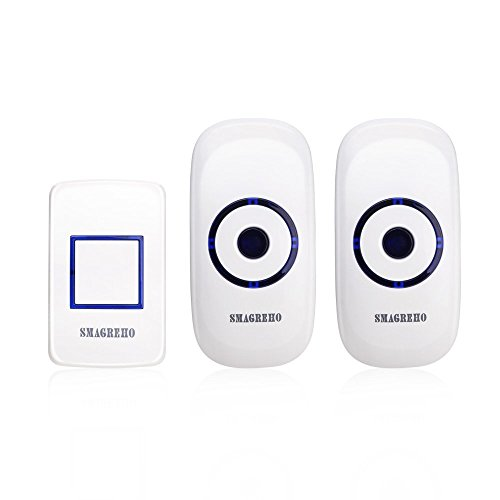 SMAGREHO Wireless Door Ring Bell Kit with 1 Remote Button and 2 Plug in Receivers