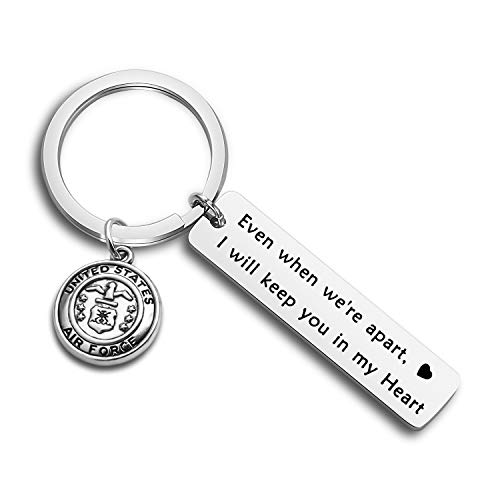 MYOSPARK Long Distance Relationship Gift Even When We're Apart I Will Keep You in My Heart Deployment Keychain Military Jewelry Deployment Gift (Air Force Keychain)