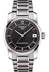 Tissot T-Classic Automatic Black Dial Titanium Ladies Watch T0872074405700