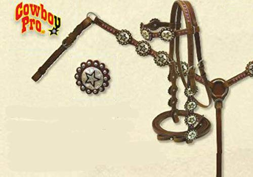 Cowboy Pro Scalloped Headstall & Breastcollar Set w/Engraved Silver Star ()
